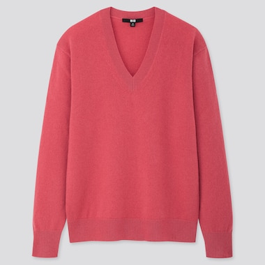 WOMEN CASHMERE V-NECK SWEATER, PINK, medium