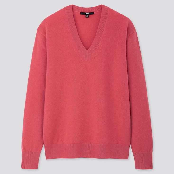 Women Cashmere V-Neck Sweater, Pink, Large
