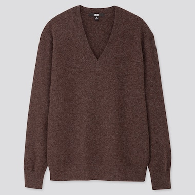 Women Cashmere V-Neck Sweater, Dark Brown, Medium