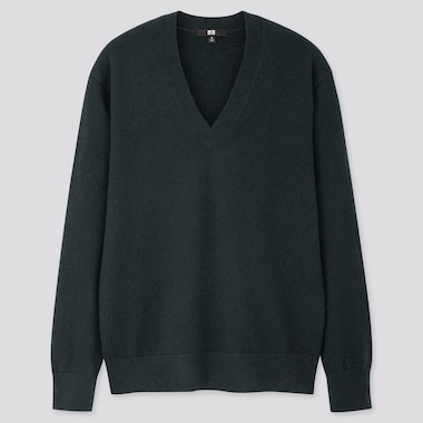 WOMEN CASHMERE V-NECK SWEATER, DARK GREEN, medium