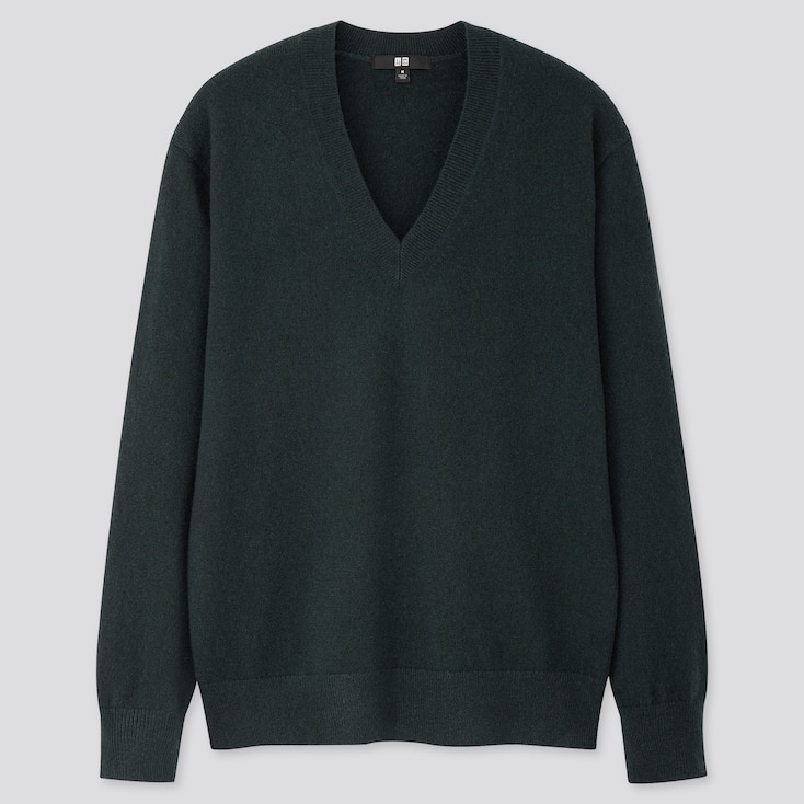 Women Cashmere V-Neck Sweater, Dark Green, Large