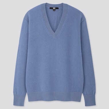 Women Cashmere V-Neck Sweater, Blue, Medium