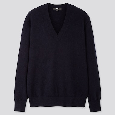Women Cashmere V-Neck Sweater, Navy, Medium