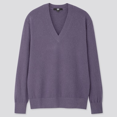 WOMEN CASHMERE V-NECK SWEATER, PURPLE, medium