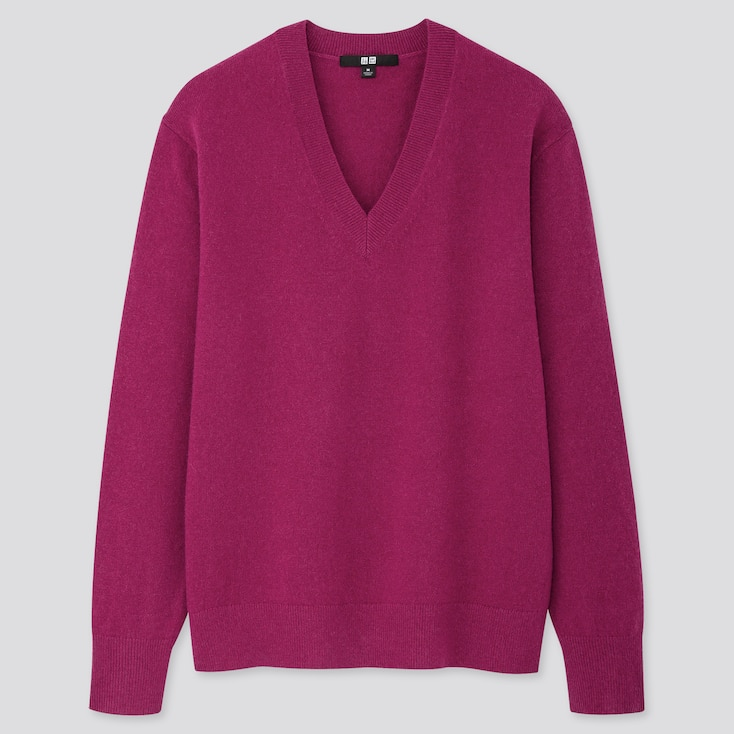Women Cashmere V-Neck Sweater, Purple, Large
