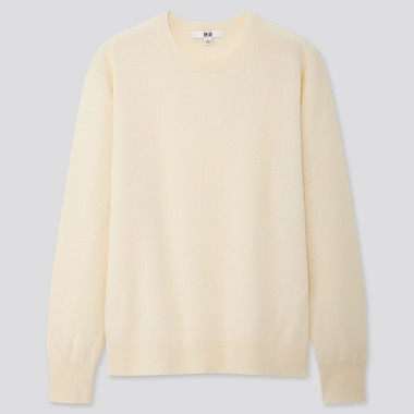 Women Cashmere Crew Neck Sweater, Off White, Medium