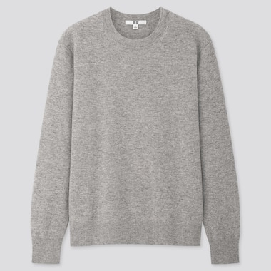 Women Cashmere Crew Neck Sweater, Light Gray, Medium