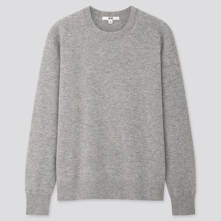 Women Cashmere Crew Neck Sweater, Light Gray, Large