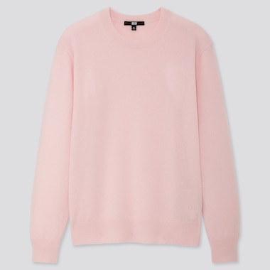 Women Cashmere Crew Neck Sweater, Pink, Medium