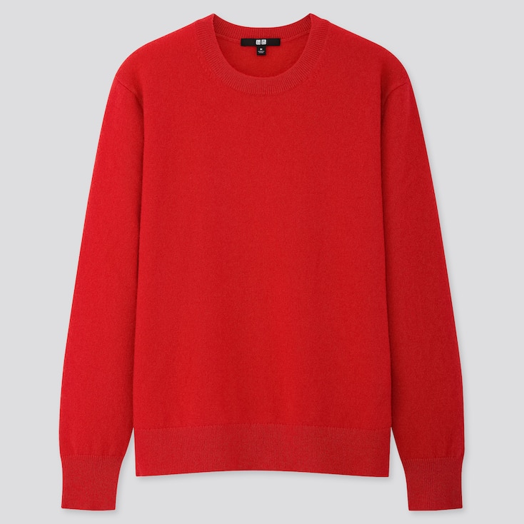 Women Cashmere Crew Neck Sweater, Red, Large