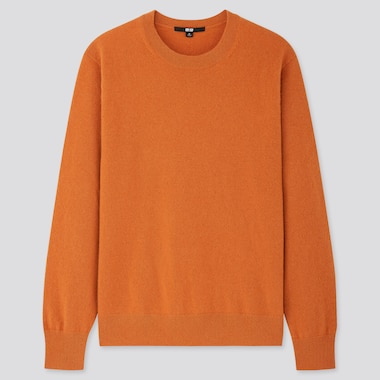 WOMEN CASHMERE CREW NECK SWEATER, ORANGE, medium