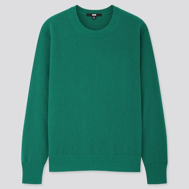 WOMEN CASHMERE CREW NECK SWEATER, GREEN, medium