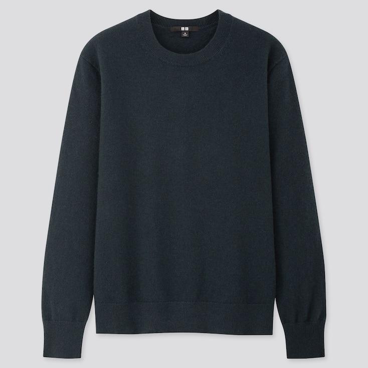 Women Cashmere Crew Neck Sweater, Dark Green, Large