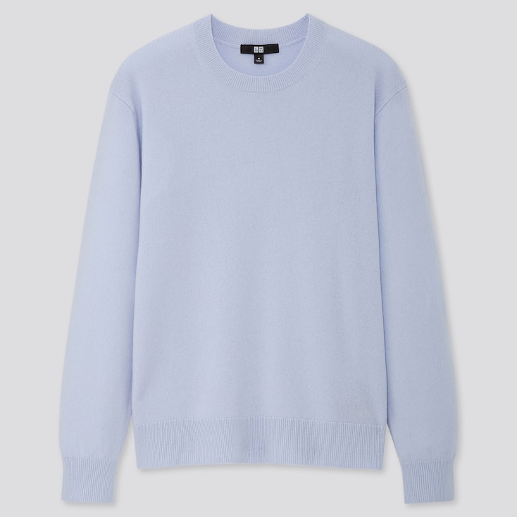 Women Cashmere Crew Neck Sweater, Light Blue, Large