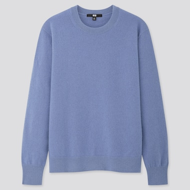 Women Cashmere Crew Neck Sweater, Blue, Medium
