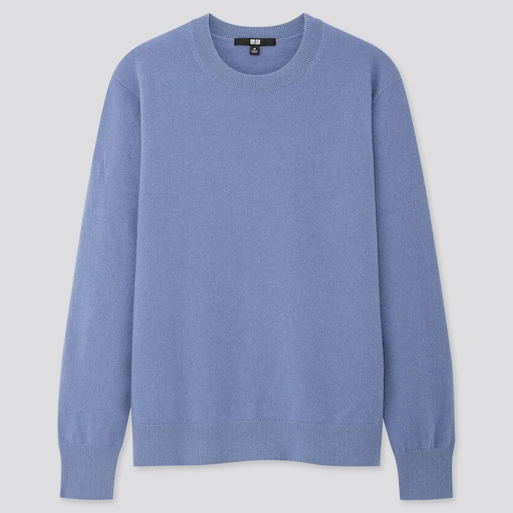 WOMEN CASHMERE CREW NECK SWEATER, BLUE, large