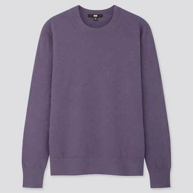 Women Cashmere Crew Neck Sweater, Purple, Medium