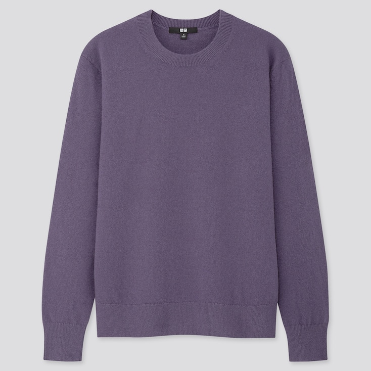 Women Cashmere Crew Neck Sweater, Purple, Large