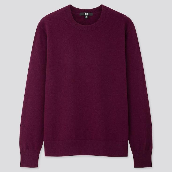 Women Cashmere Crew Neck Sweater, Dark Purple, Large