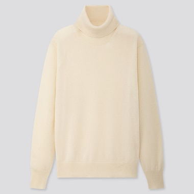 WOMEN CASHMERE TURTLENECK SWEATER, OFF WHITE, medium