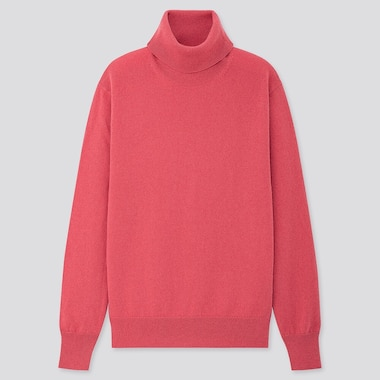 Women Cashmere Turtleneck Sweater, Pink, Medium