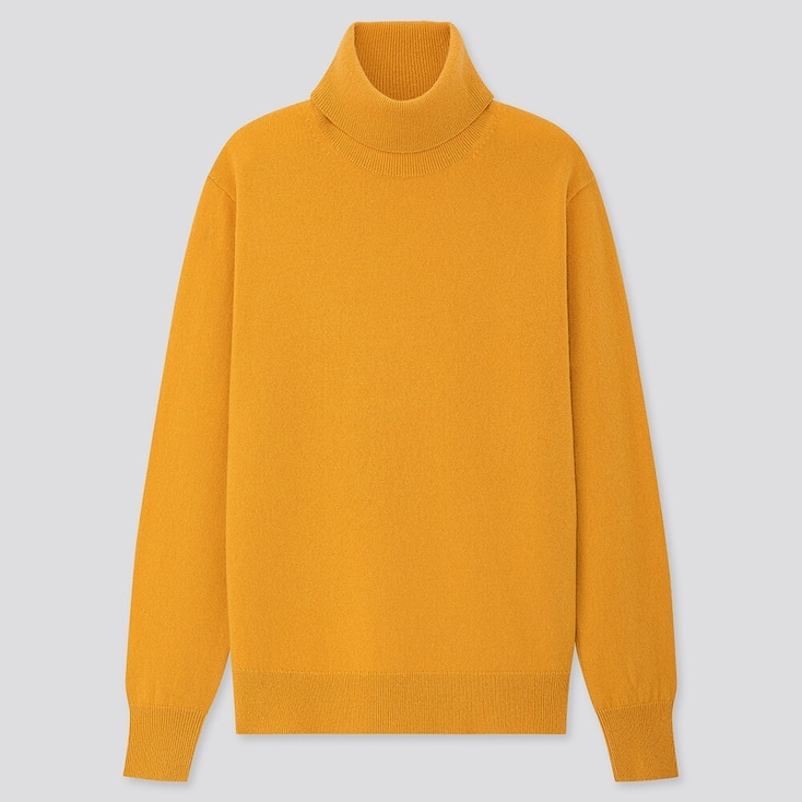 WOMEN CASHMERE TURTLENECK SWEATER, YELLOW, large