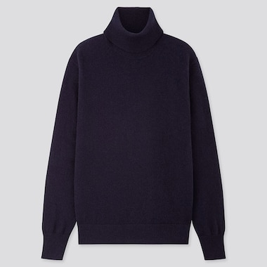 WOMEN CASHMERE TURTLENECK SWEATER, NAVY, medium
