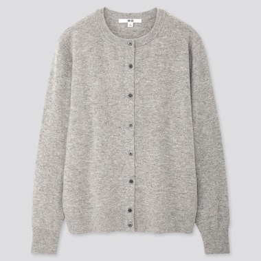 WOMEN CASHMERE CREW NECK CARDIGAN, LIGHT GRAY, medium