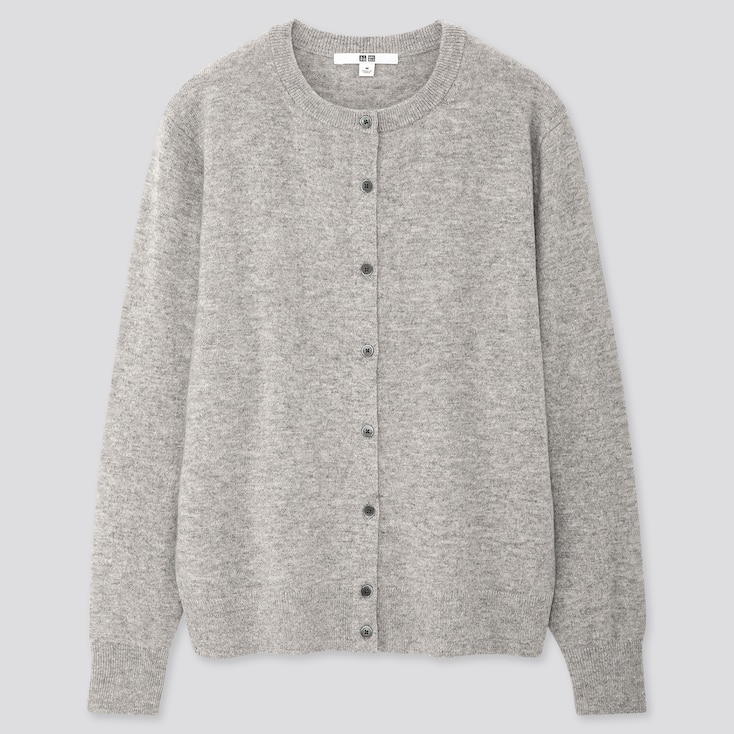 WOMEN CASHMERE CREW NECK CARDIGAN, LIGHT GRAY, large