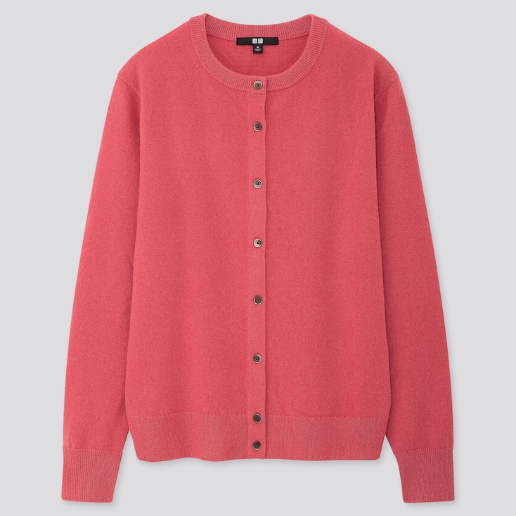 WOMEN CASHMERE CREW NECK CARDIGAN, PINK, large