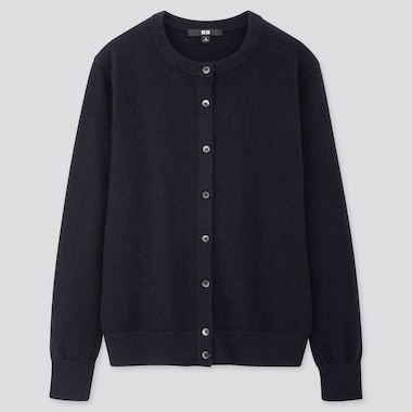 WOMEN CASHMERE CREW NECK CARDIGAN, NAVY, medium