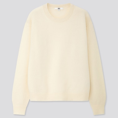 WOMEN PREMIUM LAMBSWOOL CREW NECK SWEATER, OFF WHITE, medium