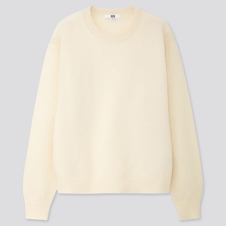 Women Premium Lambswool Crew Neck Sweater, Off White, Large