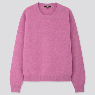 Women Premium Lambswool Crew Neck Sweater, Pink, Medium