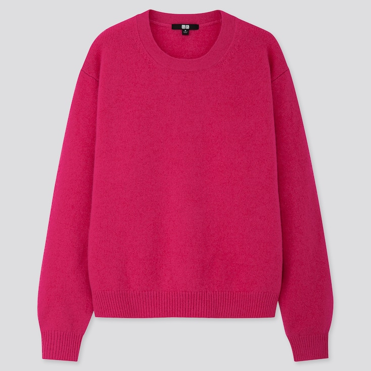 WOMEN PREMIUM LAMBSWOOL CREW NECK SWEATER, PINK, large