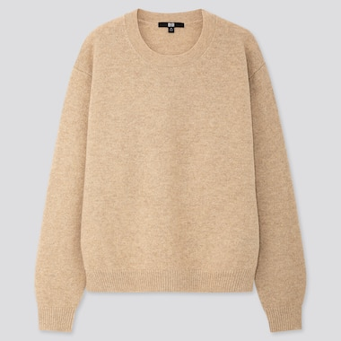 WOMEN PREMIUM LAMBSWOOL CREW NECK SWEATER, NATURAL, medium