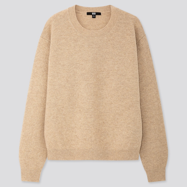 Women Premium Lambswool Crew Neck Sweater, Natural, Large