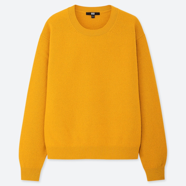 Women Premium Lambswool Crew Neck Sweater, Yellow, Large