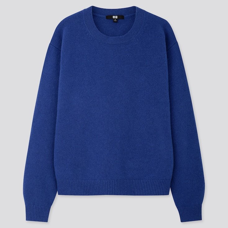 WOMEN PREMIUM LAMBSWOOL CREW NECK SWEATER, BLUE, large