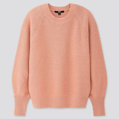 WOMEN PUFF SLEEVE CREW NECK SWEATER, PINK, medium