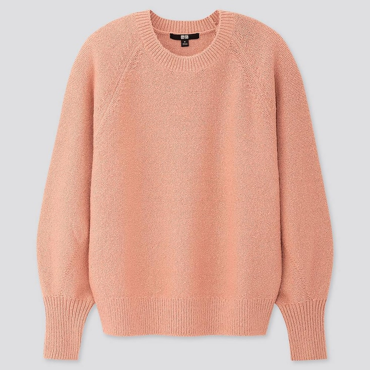 Women Puff Sleeve Crew Neck Sweater, Pink, Large
