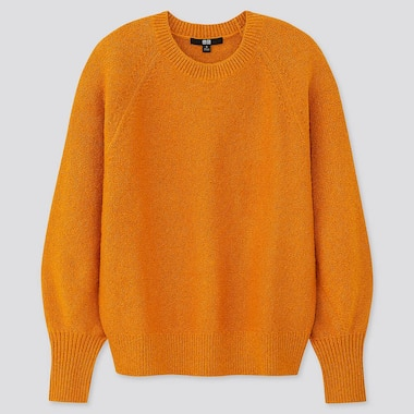WOMEN PUFF SLEEVE CREW NECK SWEATER, ORANGE, medium