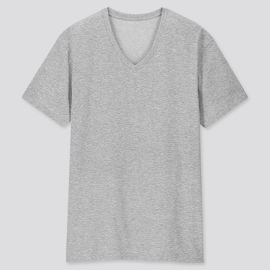 MEN PACKAGED DRY V-NECK SHORT-SLEEVE T-SHIRT, GRAY, medium