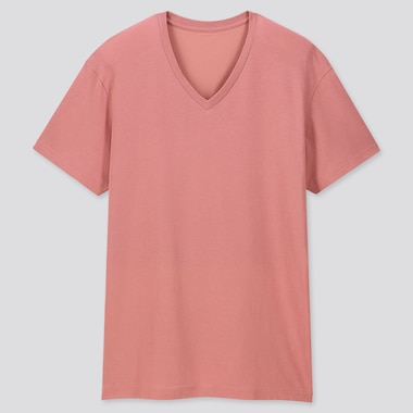 Men Packaged Dry V-Neck Short-Sleeve T-Shirt, Pink, Medium