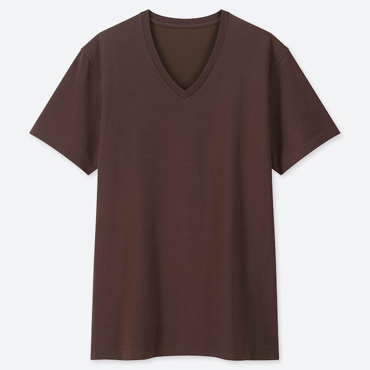 Men Packaged Dry V-Neck Short-Sleeve T-Shirt, Dark Brown, Large