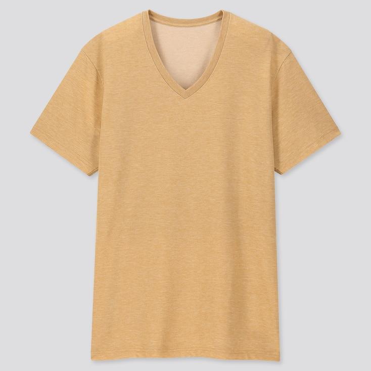Men Packaged Dry V-Neck Short-Sleeve T-Shirt, Yellow, Large