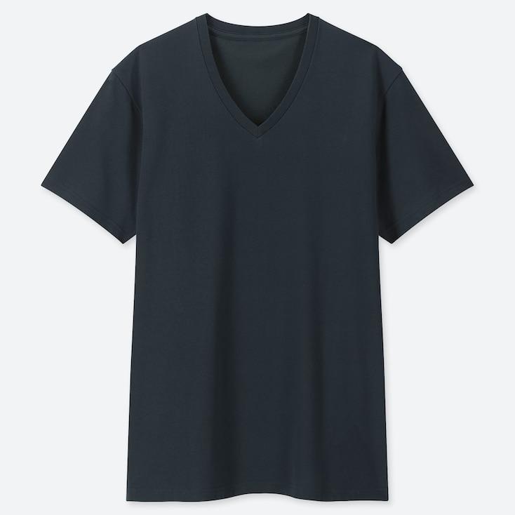 Men Packaged Dry V-Neck Short-Sleeve T-Shirt, Dark Green, Large