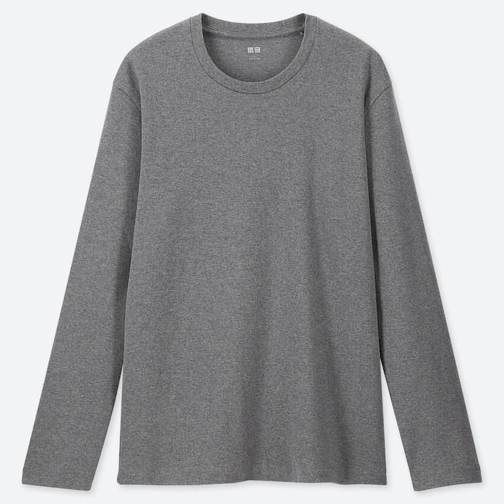 Men Soft Touch Crew Neck Long-Sleeve T-Shirt, Dark Gray, Large