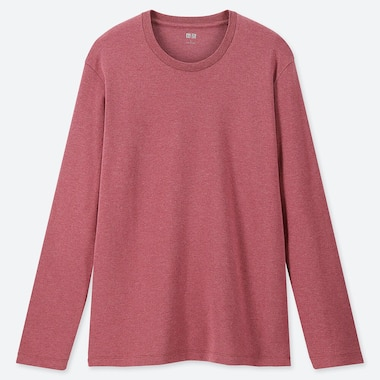 MEN SOFT TOUCH CREW NECK LONG-SLEEVE T-SHIRT, PINK, medium