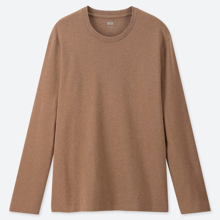 MEN SOFT TOUCH CREW NECK LONG-SLEEVE T-SHIRT, BROWN, large